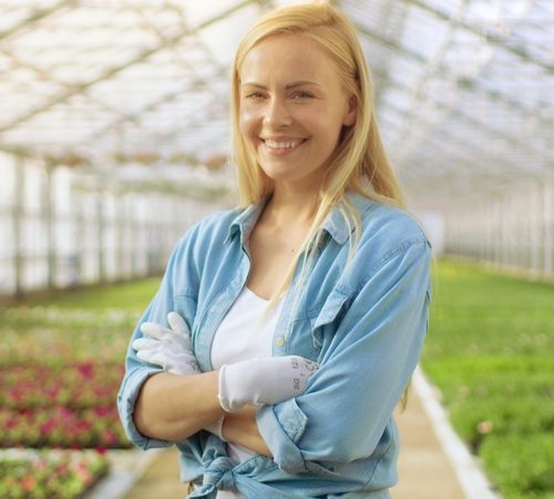 On a Sunny Day Beautiful Blonde Gardener Stands Smiling in a Greenhouse Full of Colorful Flowers.